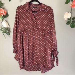 Zara | Satin polka dot blouse